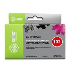 Картридж аналог PFI-102M (CACTUS CS-PFI102M) для Canon imagePROGRAF iPF500/ iPF600/ iPF605/ iPF610/ iPF700/ iPF710/ iPF720, пурпурный (130 мл.)