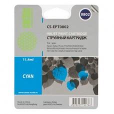 Картридж аналог C13T08024010 (CACTUS CS-EPT0802) для Epson Stylus Photo P50/ PX650/ PX660/ PX700W/ PX710W/ PX720WD/ PX800FW/ PX810FW/ PX820FWD/ R265/ R285/ R360/ RX560/ RX585/ RX685, голубой (935 стр.)