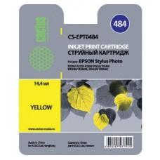 Картридж аналог C13T048440 (CACTUS CS-EPT0484) для Epson Stylus Photo R200/ R220/ R300/ R320/ R340/ RX500/ RX600/ RX620, желтый (430 стр.)